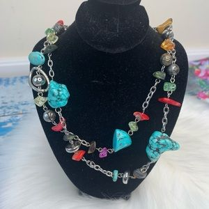 Colorful stone beaded silver chain necklace